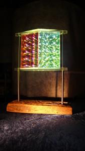 Zeitensprung Treibholz, Edelstahl, Filterglas und LED Lichtpanel